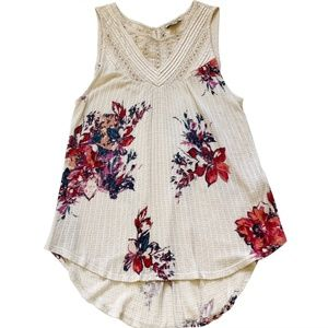 Lucky Brand  Crochet Printed Flare Top Blouse M